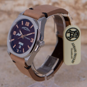 Armand Nicolet J09 Automatic Day Date Brown Mens Watch 9650A-MR Authorized Dealer